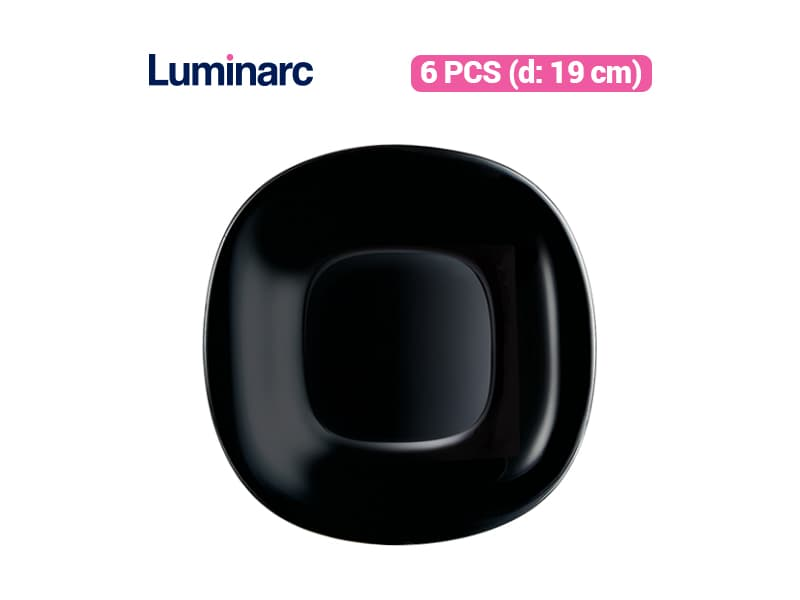 Luminarc Piring Kue Carine Black Dessert Plate / 6 pcs