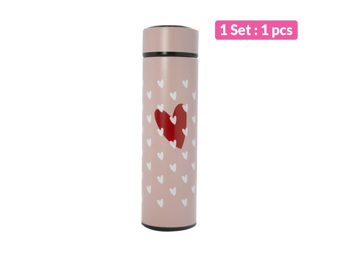 Termos Air Minum Romantic Pink Love Symbols Red+White Vacuum Cup / pcs