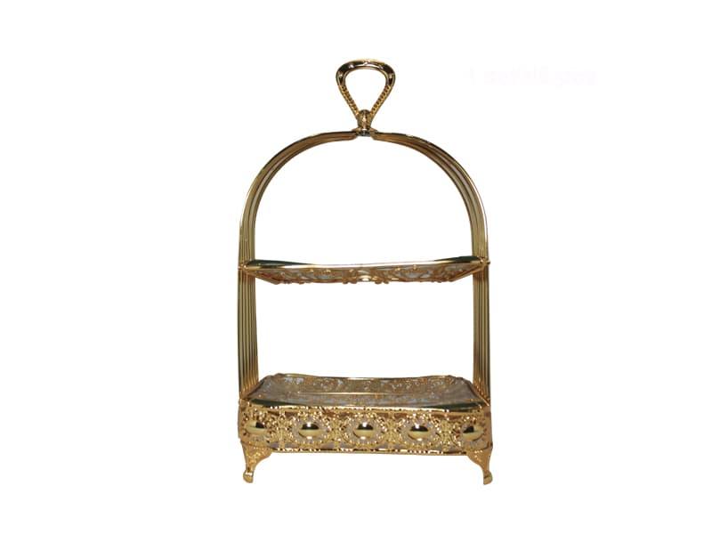 Keranjang Buah Persegi w/Metal Accessories Gold Mid / pcs
