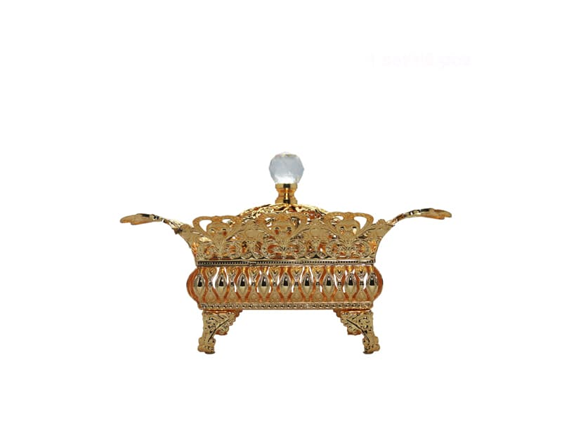 Fruit Bowl Metal w/cover Sqr Gold Small / pcs