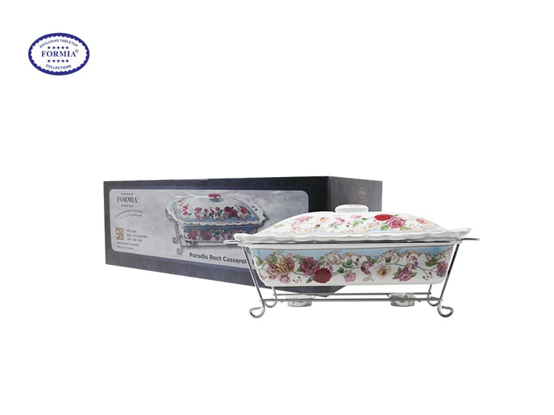 Formia tempat Penyaji Makanan Rect Casserole 15 Inch W/Stand Paradis / pcs
