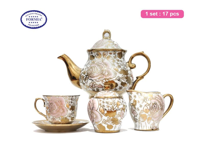 Formia Tea Set Keramik Pink Gold Set / 17 pcs