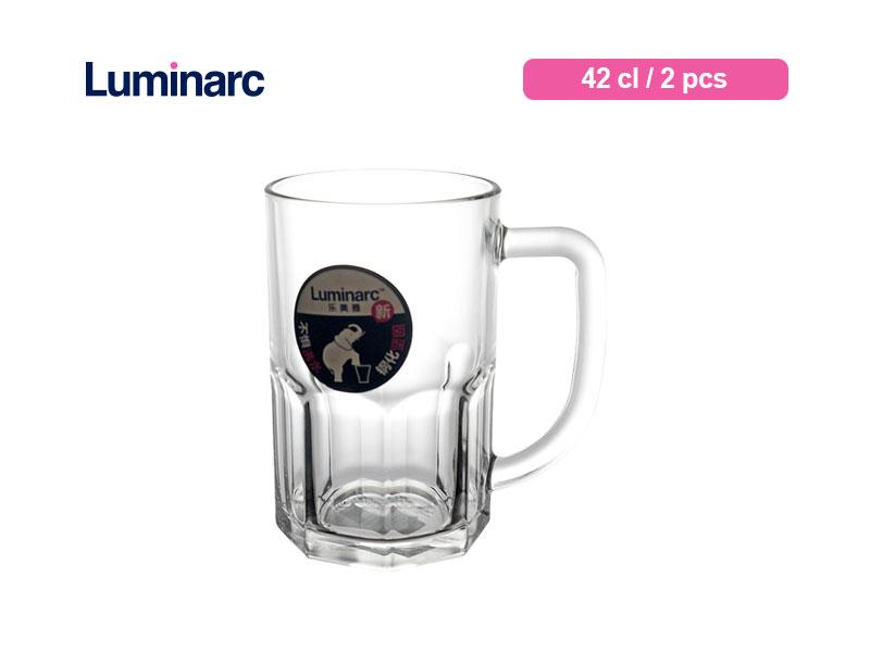 Luminarc Gelas Minum Bertangkai Cloudy Mug 42 Cl / 2 pcs