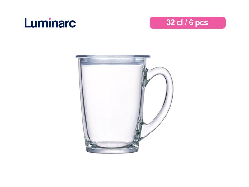 Luminarc Gelas Minum Bertangkai New Morning Mug W/lid 32 Cl / 6 pcs