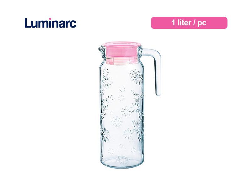 Luminarc Teko Air Minum Rotterdam Funny Flower Jug w/lid Pink 1.1 Ltr / pcs