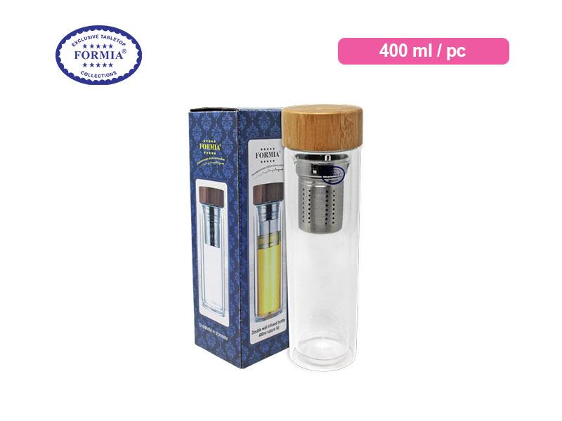 Formia Botol Minum Infused Tutup Kayu 400 Ml / pc