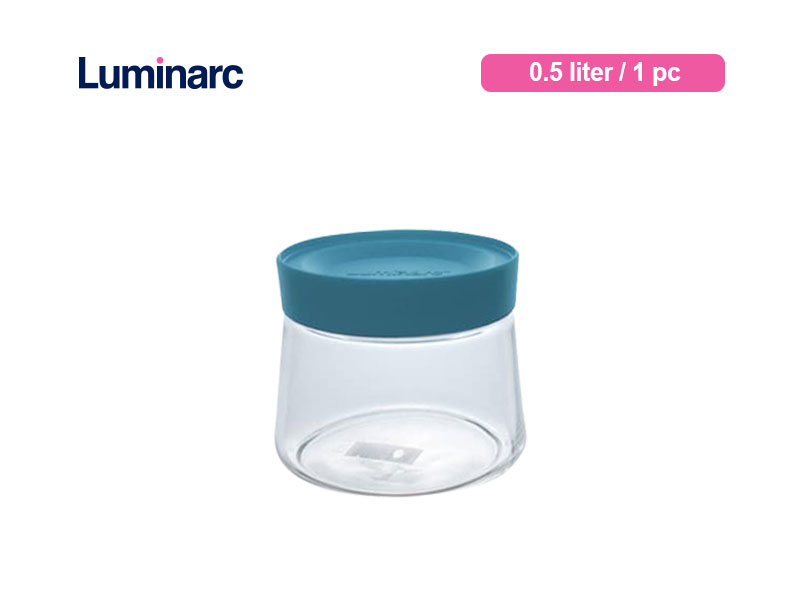 Luminarc Toples Kue Pot Swing 0.5 Ltr Blue Lid / Pc