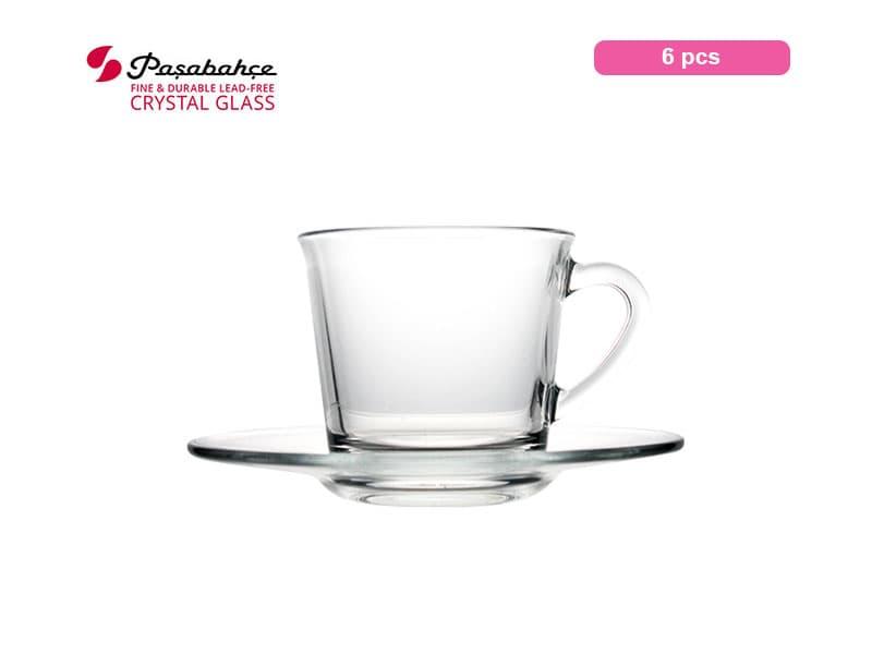 Pasabahce Gelas Minum Espresso Basic cup Saucer 19 Cl Set / 6 pcs
