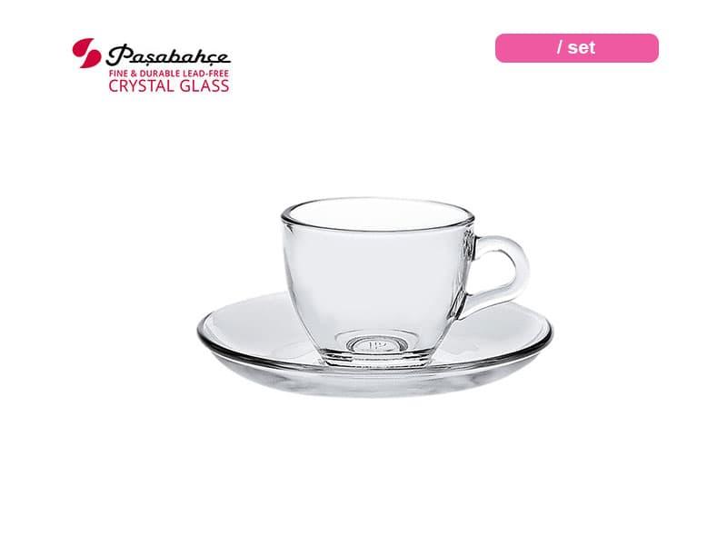 Pasabahce Gelas Minum Expresso Basic Cup Saucer 8.5 Cl / Set