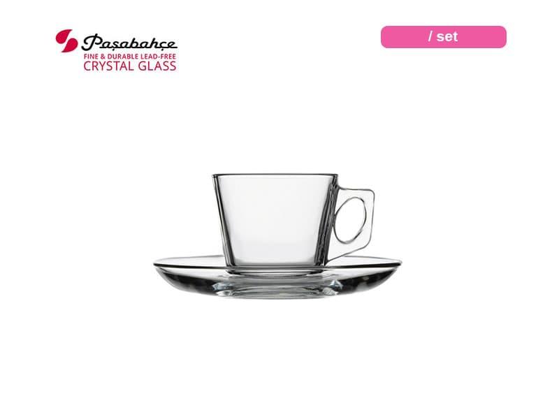 Pasabahce Gelas Minum Expresso Vela Cup Saucer 8 Cl / Set