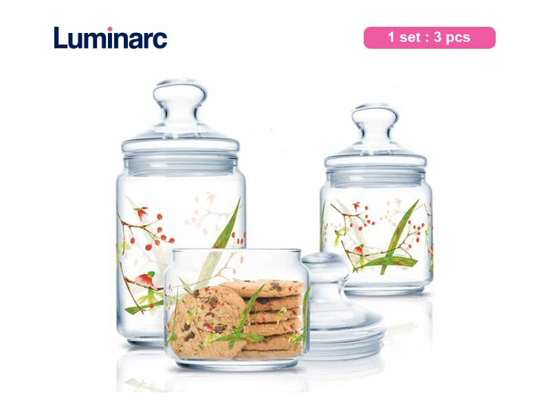 Luminarc Toples Kue Beatitude Club Jar Set / 3 pcs