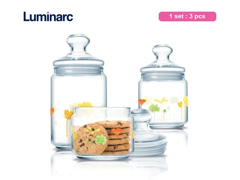 Luminarc Toples Kue Encanta Club Jar Set / 3 pcs