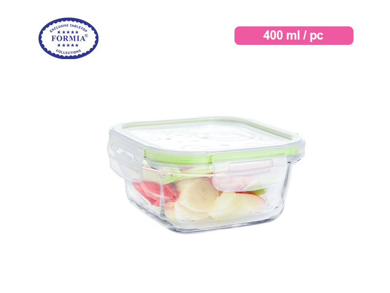 Formia Kotak Makan Storebox Square Green Lid 400 Ml / Pc