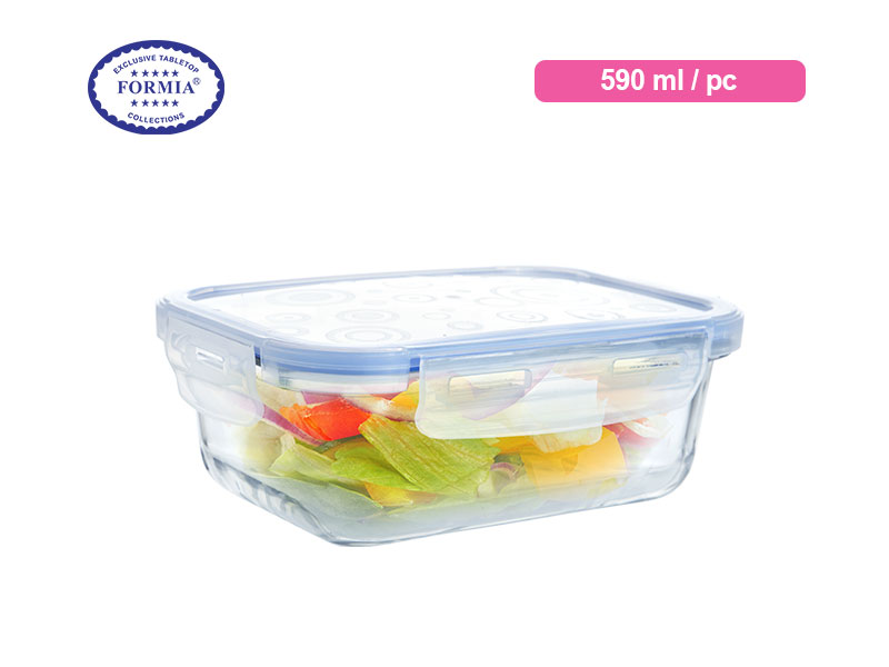 Formia Kotak Makan Storebox Rect Blue Lid 590 Ml / Pc