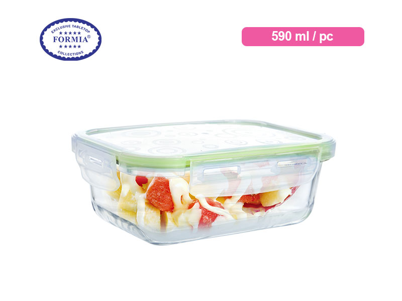 Formia Kotak Makan Storebox Rect Green Lid 590 Ml / Pc